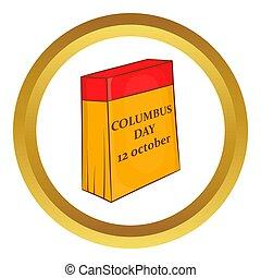 columbus, 12, ikone, tag, oktober, kalender
