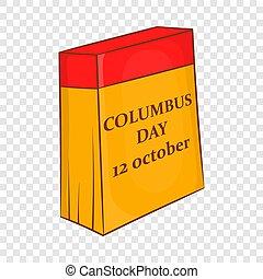 columbus, 12, kalender, oktober, tag, ikone