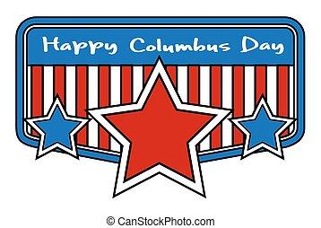 columbus, bandera, día, estrellas, retro