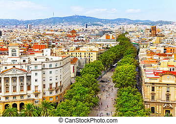 columbus, barcelona, monument., stadt, panorama, barcelona.