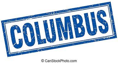 Columbus blue square grunge stamp on white