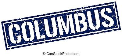 Columbus blue square stamp