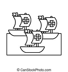 columbus, caravels, día, barcos, estilo, línea