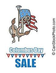 Columbus Day Anchor USA Flag Vector