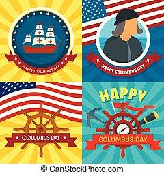 Columbus day banner set, flat style