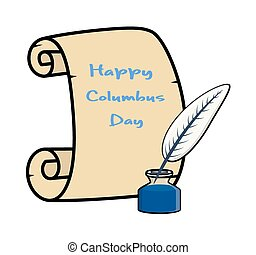 Columbus Day Banner with Inkstand - Columbus Day Paper ...