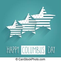 Columbus Day blue poster. Handwritten text. Vector...