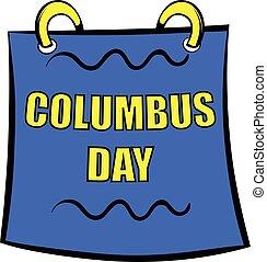 Columbus day calendar icon, icon cartoon