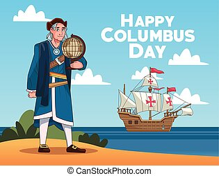 Columbus day celebration scene of christopher lifting world map on the beach
