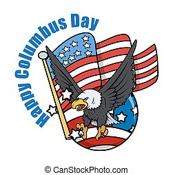 Columbus Day Eagle with USA Flag