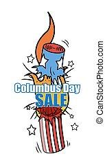 Columbus Day Explosion Bomb Vector