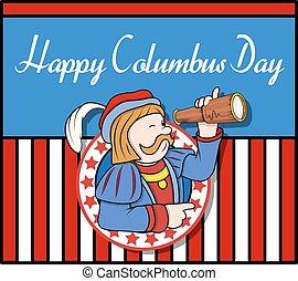 Columbus Day Graphic Background - Columbus Day Cartoon Man...