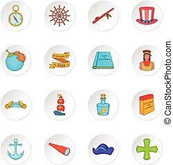 Columbus Day icons se, cartoon style