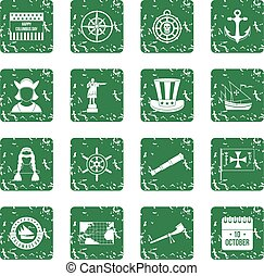 Columbus Day icons set grunge