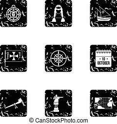 Columbus Day icons set, grunge style
