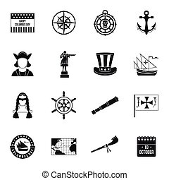 Columbus Day icons set, simple style - Columbus Day icons ...