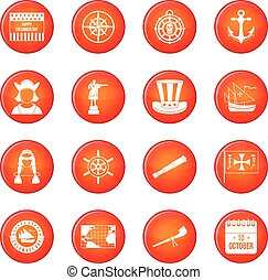 Columbus Day icons vector set