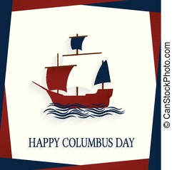Columbus Day poster with sailing ship and waves. Vector illustration.