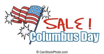Columbus Day Sale Banner - Festive USA Flag Columbus Day...