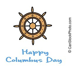 Columbus Day Ship Wheel Vector