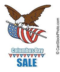 Columbus Eagle Flying with USA Flag