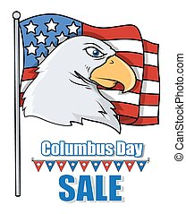 Columbus Eagle on USA Flag Vector