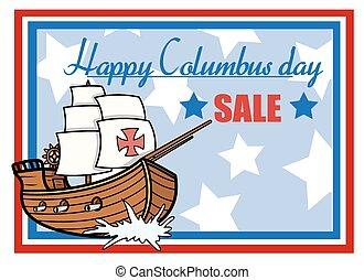 columbus, glücklich, banner, verkauf, tag