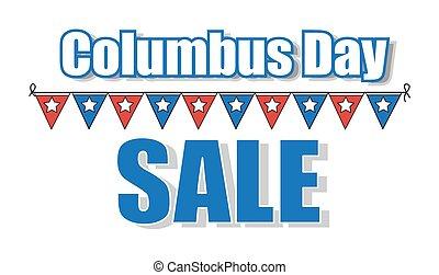 columbus, gráfico, bandera, día, venta