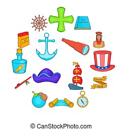 columbus, heiligenbilder, satz, stil, karikatur, tag