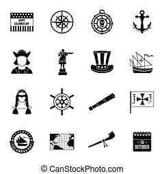 columbus, iconos, conjunto, estilo, simple, día