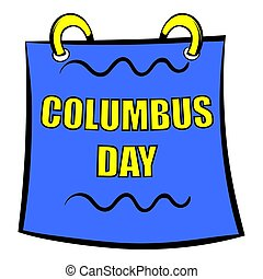 columbus, ikone, karikatur, ikone, tag, kalender