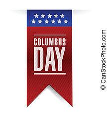 columbus, ilustración, señal, diseño, bandera, día