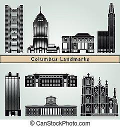 Columbus landmarks and monuments isolated on blue background...