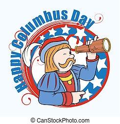 Columbus Man with Telescope Vector - Cartoon Man with...