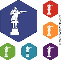 Columbus monument icons set