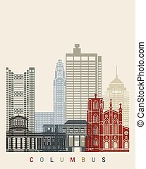 Columbus OH skyline poster - Columbus skyline poster in...