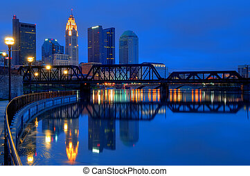 Columbus Ohio Skyline at Night - A view of Columbus;...
