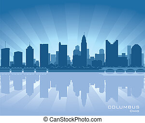 Columbus, Ohio skyline illustration with reflection in water