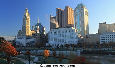Columbus, Ohio timelapse view of the city center - A...