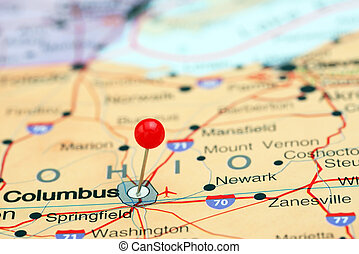 Columbus pinned on a map of USA - Photo of pinned Columbus...