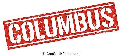 Columbus red square stamp