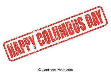 columbus, selo, texto, dia, vermelho, feliz