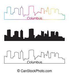 Columbus skyline linear style with rainbow - Columbus...