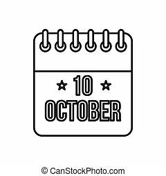 columbus, stil, ikone, grobdarstellung, tag, kalender