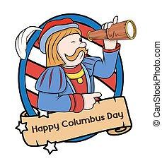 columbus, vector, día, caricatura