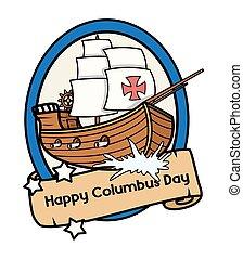 columbus, vector, retro, barco
