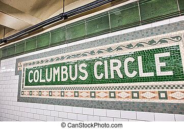 columbus, zeichen, station, metro, kreis, manhattan