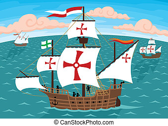 The ships of Christopher Columbus on their way to America. Remove the crosses and you will get three ordinary sail ships. No transparency and gradients used.