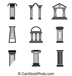 Column black vector icons