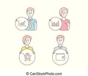 Column chart, Cross sell and Chart icons. Money wallet sign. Financial graph, Market retail, Payment method. Vector